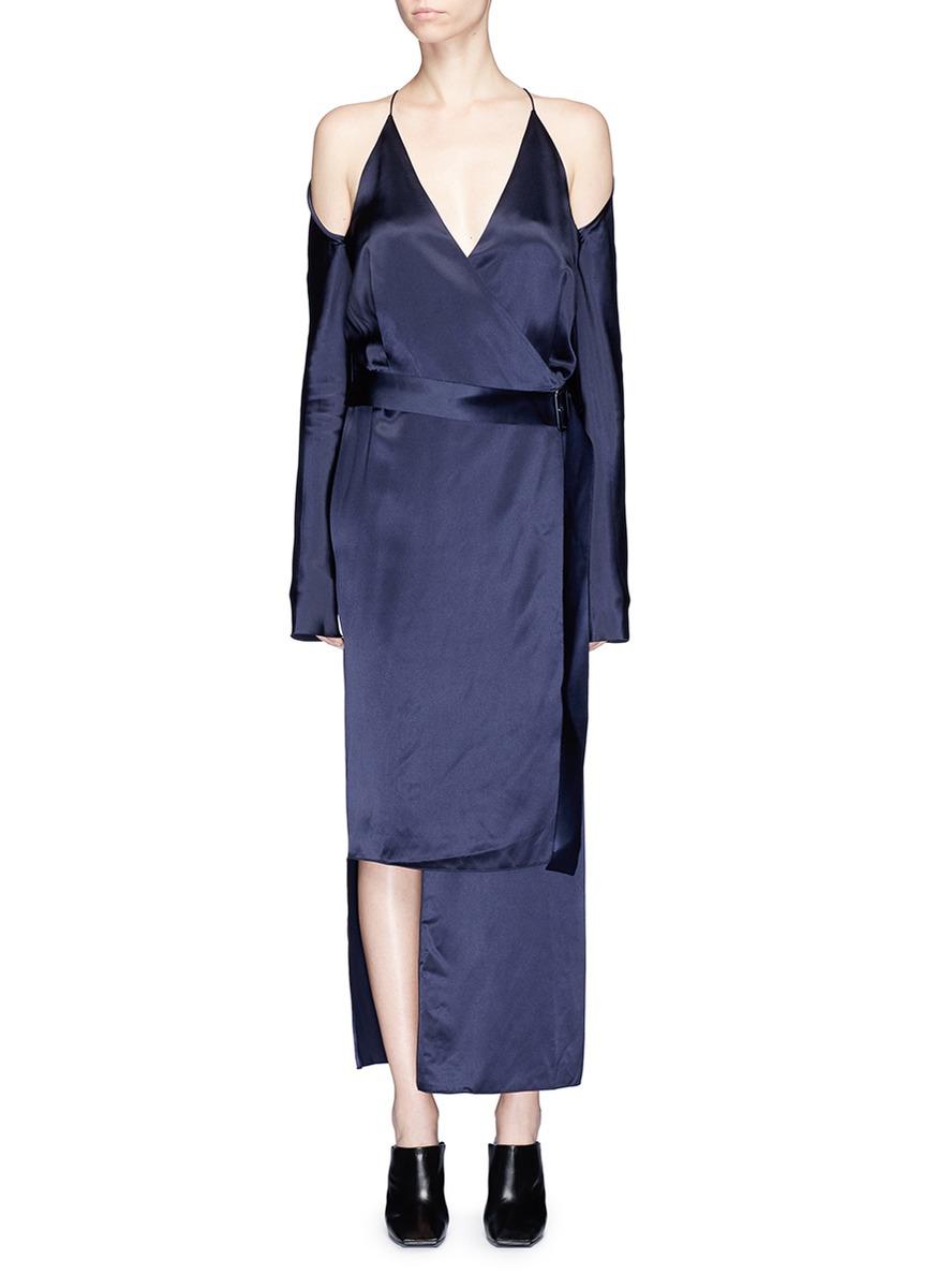 Cold shoulder contour tie silk wrap dress by Dion Lee
