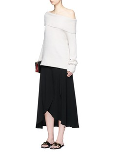 Theory'Amazing' crepe wrap midi skirt