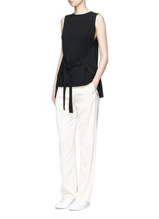 Theory 'Ordan' tie waist wrap back crepe top
