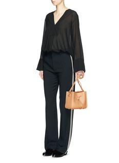 Theory'Matara' flared sheer silk crepe blouse