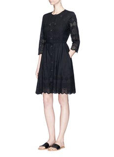 Theory'Kalsingas E' cutwork embroidery cotton dress
