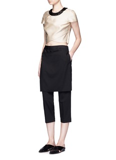 3.1 Phillip Lim Embellished collar mock wrap cropped top