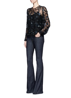 Needle & Thread Butterfly and floral embellished tulle blouse