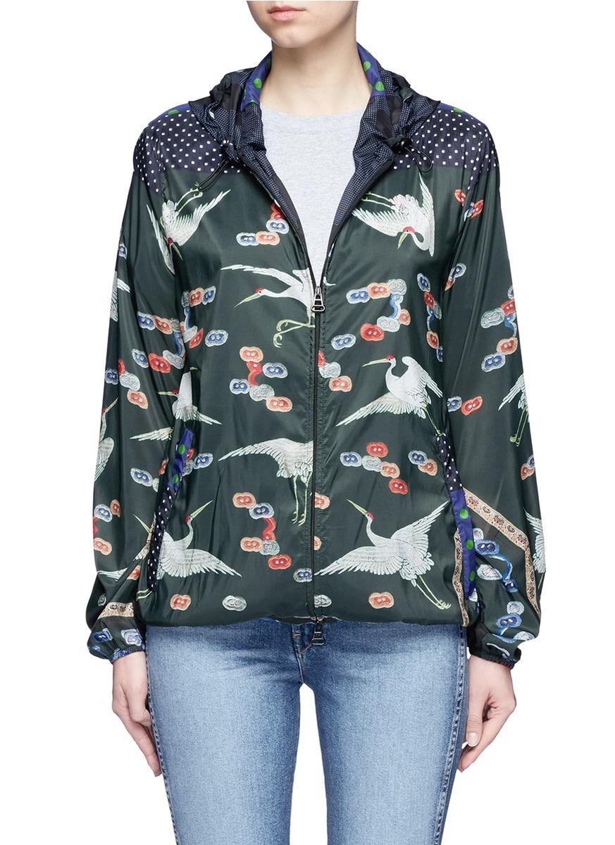 Mixed crane print hooded windbreaker jacket by Pierre-Louis Mascia