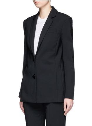 Front View - Click To Enlarge - Alexander Wang  - Satin triangle closure virgin wool blend blazer