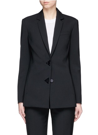 Main View - Click To Enlarge - Alexander Wang  - Satin triangle closure virgin wool blend blazer