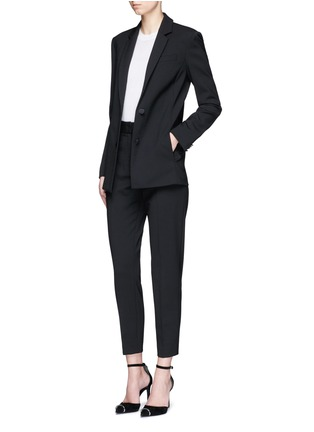 Figure View - Click To Enlarge - Alexander Wang  - Satin triangle closure virgin wool blend blazer