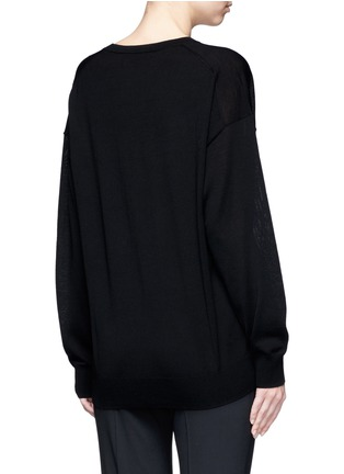 Back View - Click To Enlarge - Alexander Wang  - Cutout V-neck Merino wool sweater