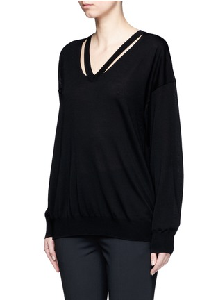 Front View - Click To Enlarge - Alexander Wang  - Cutout V-neck Merino wool sweater