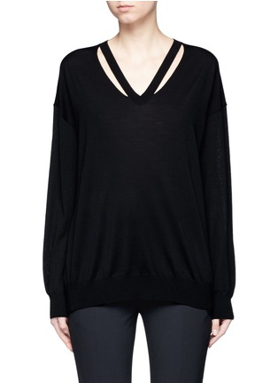 Main View - Click To Enlarge - Alexander Wang  - Cut out V-neck Merino wool sweater