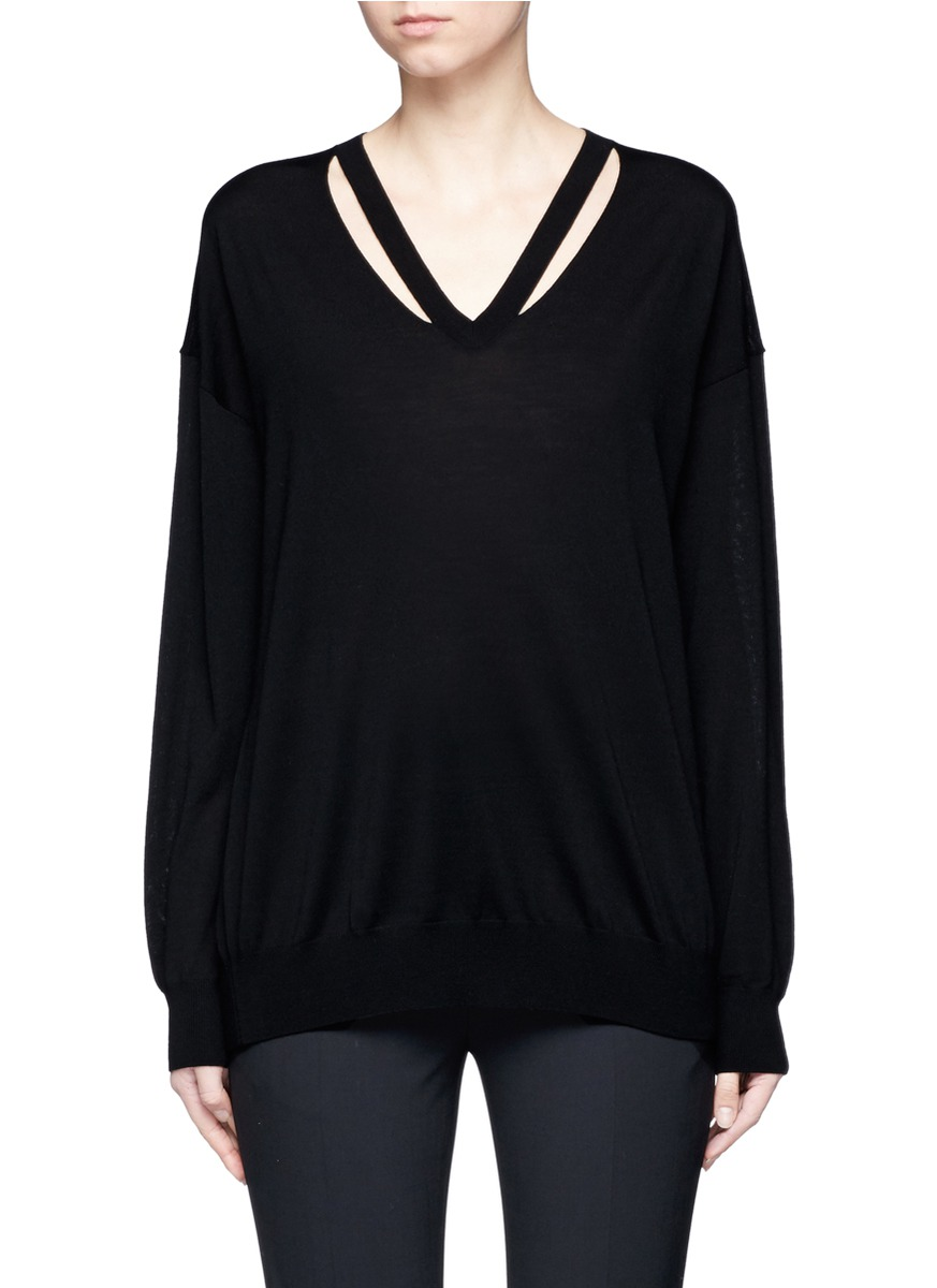 Cut out V-neck Merino wool sweater by Alexander Wang