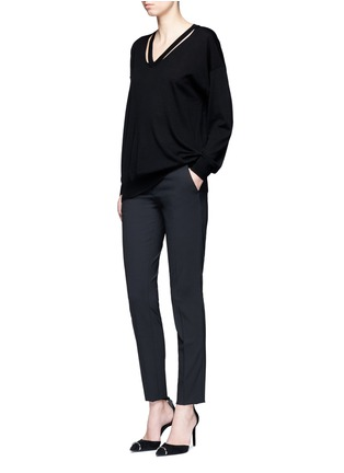 Figure View - Click To Enlarge - Alexander Wang  - Cutout V-neck Merino wool sweater