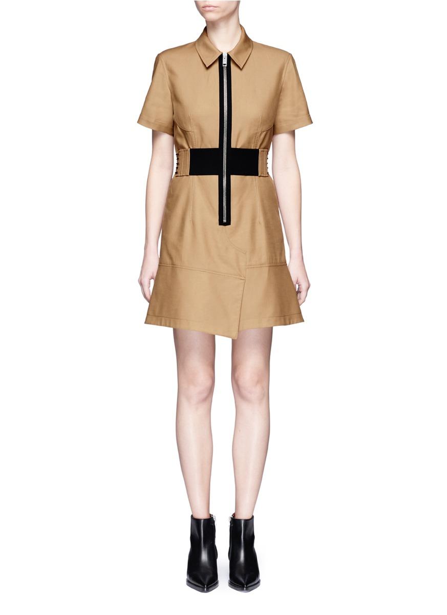 Laced belt twill safari dress by Alexander Wang
