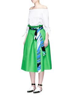 Emilio PucciPaperbag waist silk scarf belt skirt