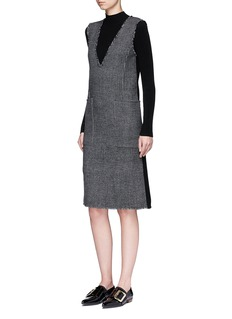MO&CO. EDITION 10 Glen plaid plunge V-neck dress