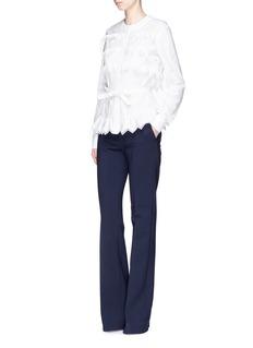 Alaïa 'Voile Jour' zigzag ruffle belted poplin shirt
