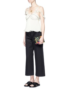 3.1 Phillip Lim Plissé pleat ruffle crepe cropped top