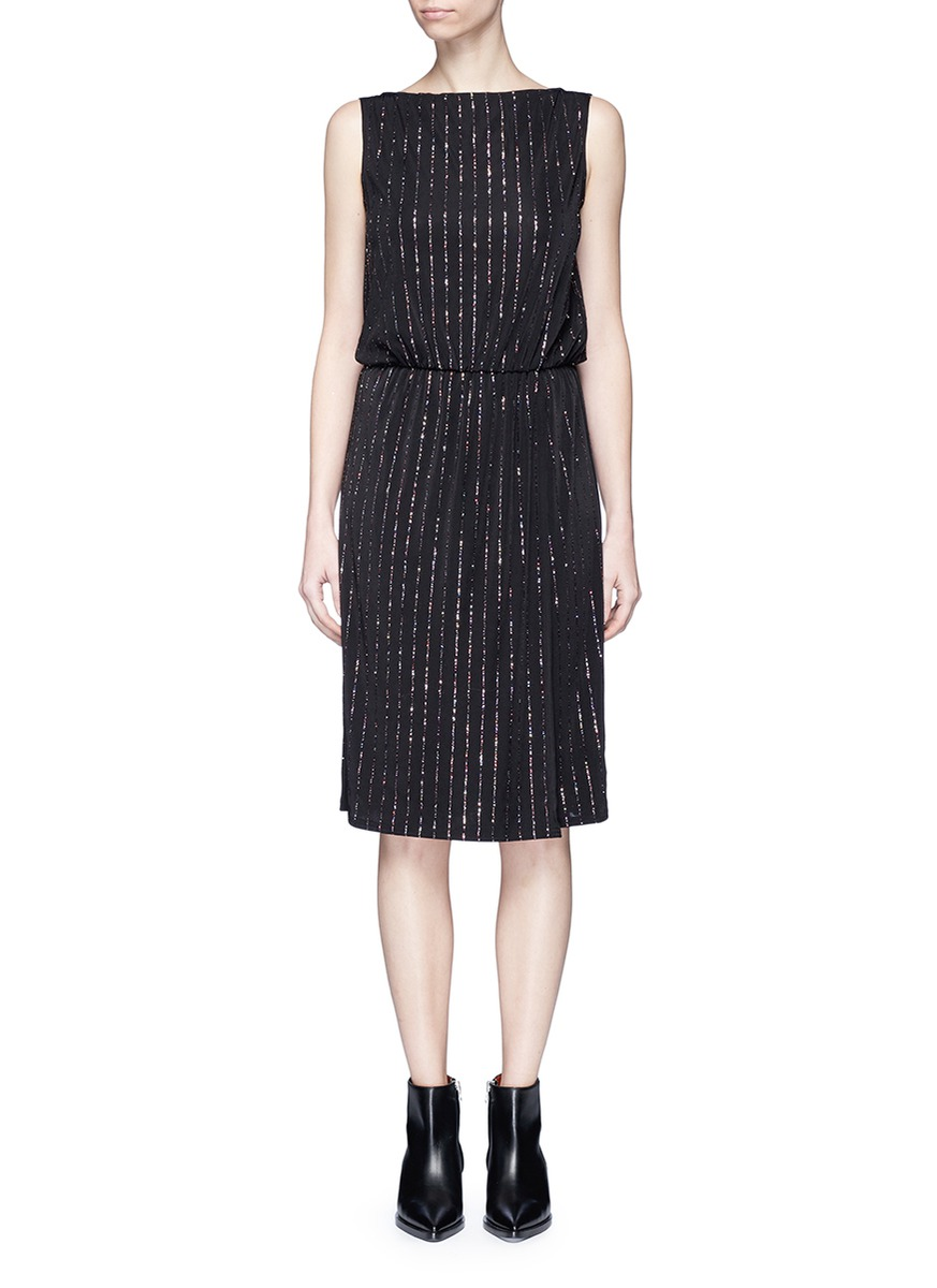 marc jacobs female glitter pinstripe plunge back dress