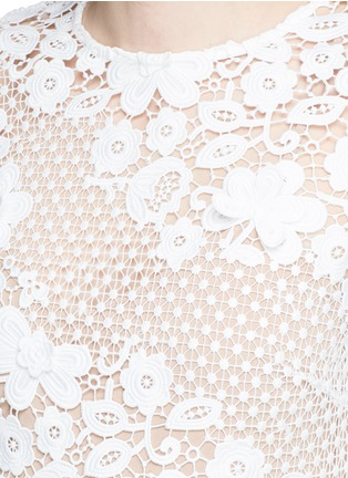 Detail View - Click To Enlarge - self-portrait - Mixed 3D floral guipure lace mini dress
