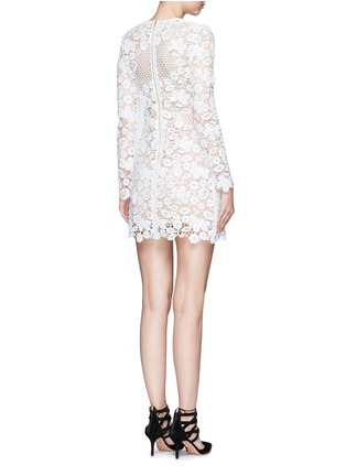 Back View - Click To Enlarge - self-portrait - Mixed 3D floral guipure lace mini dress