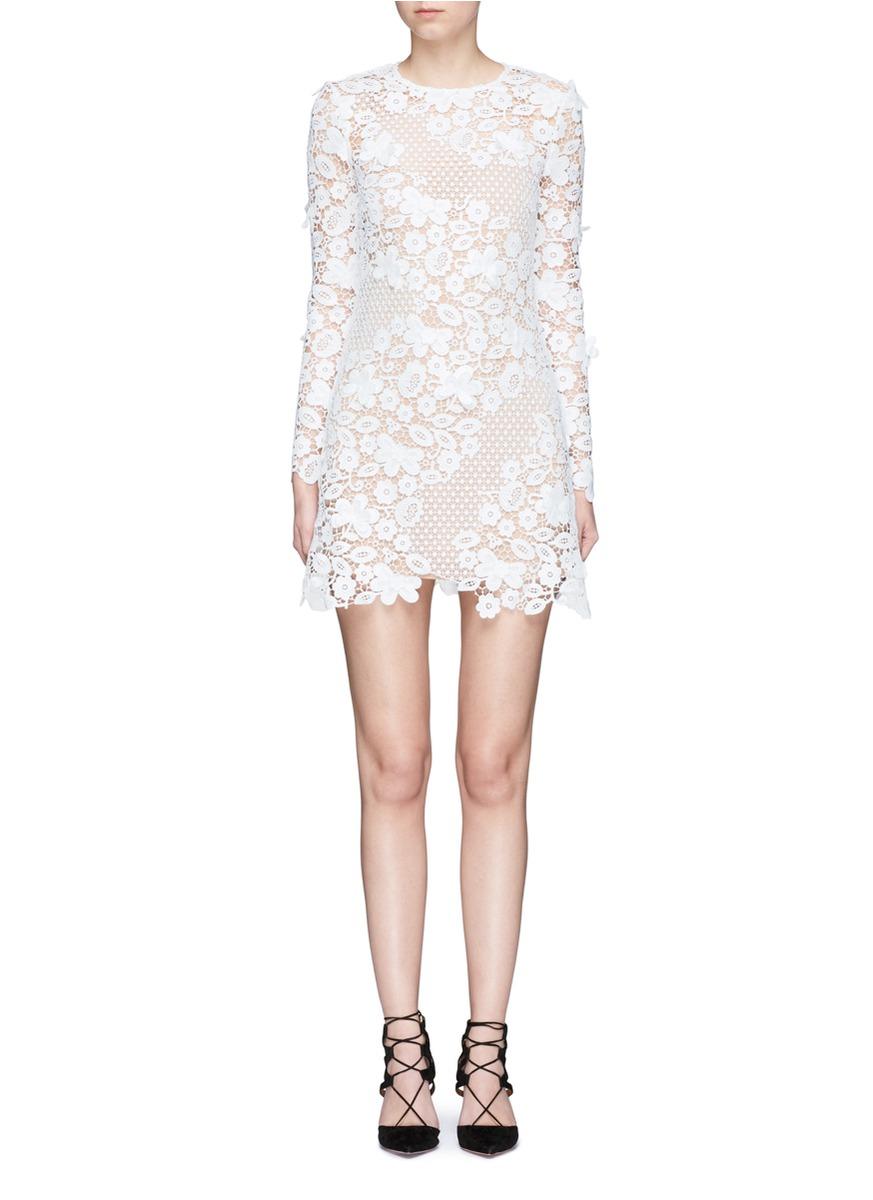 Mixed 3D floral guipure lace mini dress by self-portrait