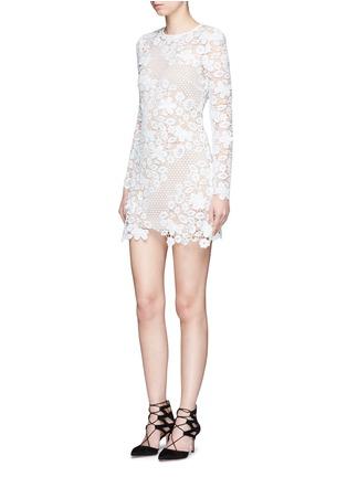 Figure View - Click To Enlarge - self-portrait - Mixed 3D floral guipure lace mini dress