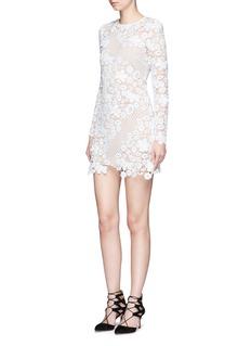 self-portraitMixed 3D floral guipure lace mini dress
