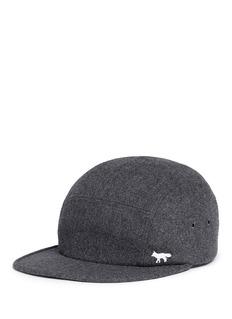 Maison KitsunéFox logo embroidered wool blend cap
