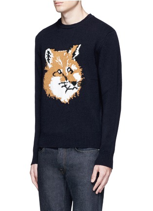 Front View - Click To Enlarge - Maison Kitsuné - Fox head intarsia lambswool sweater