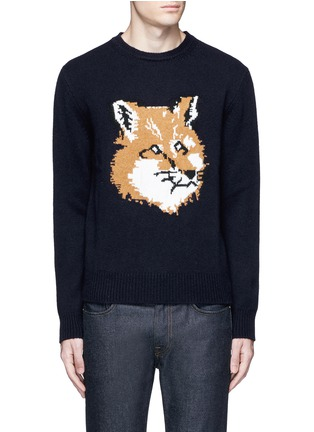 Main View - Click To Enlarge - Maison Kitsuné - Fox head intarsia lambswool sweater