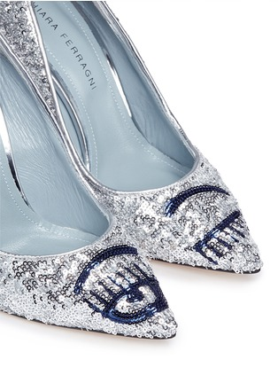 Detail View - Click To Enlarge - Chiara Ferragni - 'Flirting' eye wink sequin pumps