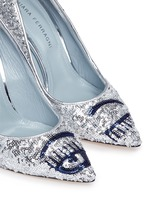 'Flirting' eye wink sequin pumps