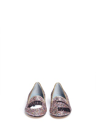 Front View - Click To Enlarge - Chiara Ferragni - 'Flirting' eye wink appliqué glitter flats