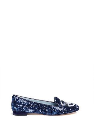 Main View - Click To Enlarge - Chiara Ferragni - 'Flirting' eye wink sequin flats