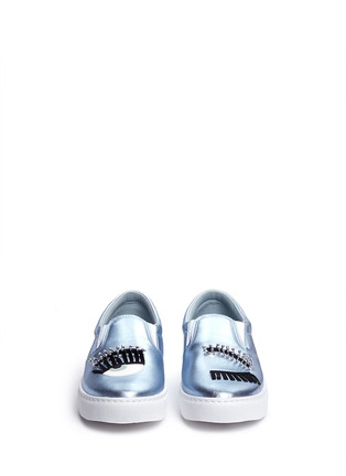 Front View - Click To Enlarge - Chiara Ferragni - 'Piercing Flirting' eye wink appliqué metallic skate slip-ons