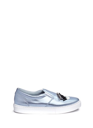 Main View - Click To Enlarge - Chiara Ferragni - 'Piercing Flirting' eye wink appliqué metallic skate slip-ons