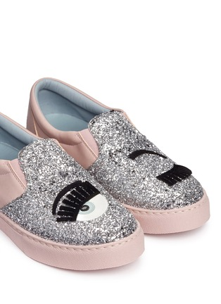 Detail View - Click To Enlarge - Chiara Ferragni - 'Flirting' eye wink appliqué glitter slip-ons