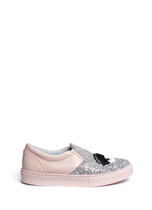Main View - Click To Enlarge - Chiara Ferragni - 'Flirting' eye wink appliqué glitter slip-ons