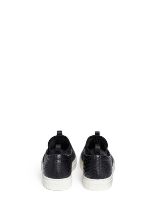 Back View - Click To Enlarge - Ash - 'Loops' python embossed leather skate slip-ons