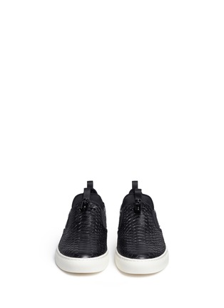 Front View - Click To Enlarge - Ash - 'Loops' python embossed leather skate slip-ons