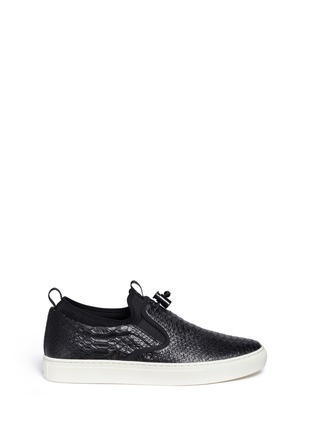 Main View - Click To Enlarge - Ash - 'Loops' python embossed leather skate slip-ons