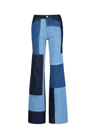 Main View - Click To Enlarge - VICTORIA, VICTORIA BECKHAM - Patchwork wide leg jeans