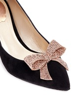 x BLITZ 'Decollete' strass pavé bow suede pumps