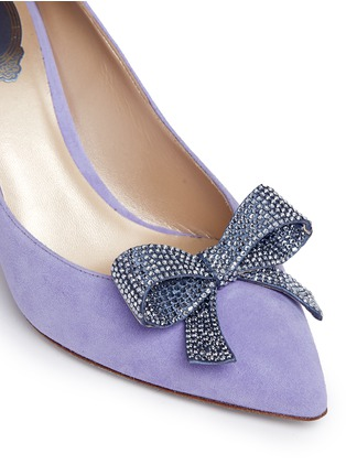 Detail View - Click To Enlarge - René Caovilla - x BLITZ 'Decollete' strass pavé bow suede pumps