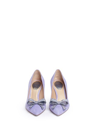 Front View - Click To Enlarge - René Caovilla - x BLITZ 'Decollete' strass pavé bow suede pumps