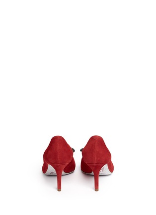 Back View - Click To Enlarge - René Caovilla - x BLITZ 'Decollete' strass pavé bow suede pumps