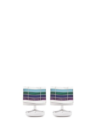 Main View - Click To Enlarge - Tateossian - 'Mosaic City' gemstone stripe cufflinks