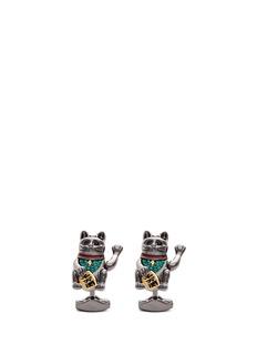 TateossianFortune cat Swarovski crystal cufflinks