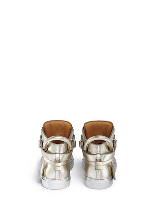 Back View - Click To Enlarge - Buscemi Shoes - '100MM' twist lock strap leather mid top sneakers
