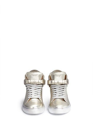 Front View - Click To Enlarge - Buscemi Shoes - '100MM' twist lock strap leather mid top sneakers